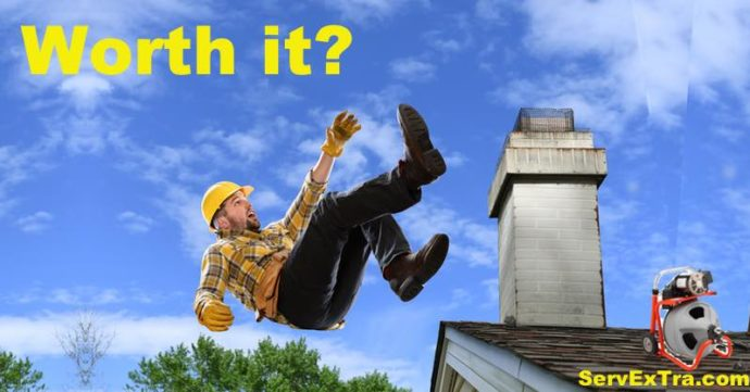 Plumber falls off roof trying to clear a sewer