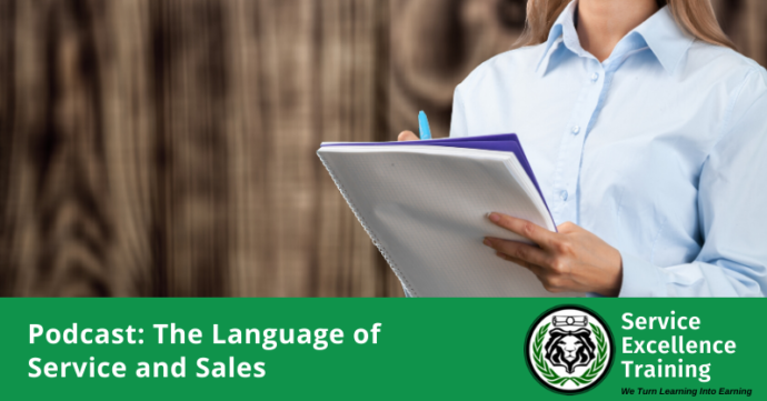 the language of service and sales header